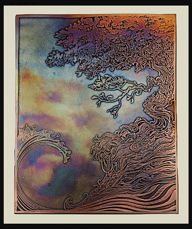 Rainbow Fibonacci Tree. Chemically etched copper panel colored by fire and patina. Available at my website. Link in bio. Free shipping anywhere in the USA.  #nicholasknudsoncopper