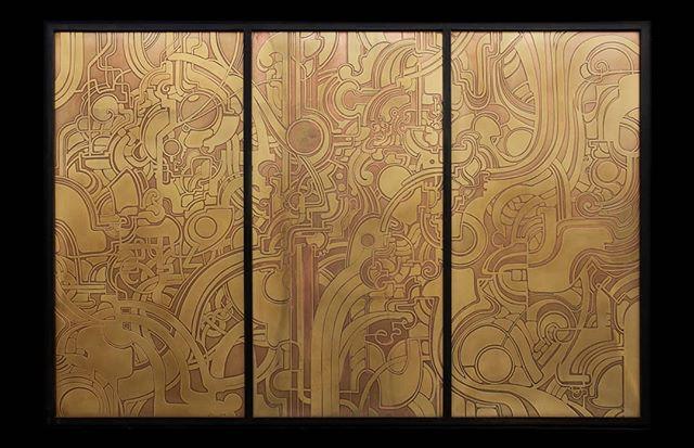 Brass Triptych  #brass #brassart #etching #nicholasknudson #nicholasknudsonart #losangelesart #losangelesartist #brassdesign #designLA #laartshow2019 #dtla