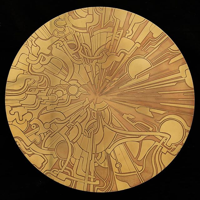 """ANNULAR 1 25"""" etched brass plate """"We're made of star stuff. We are a way for the cosmos to know itself."""" -Carl Sagan  #annular #thebeginning #brass #brassetching #nicholasknudson #nicholasknudsonart #thecosmos #space #thebigbang #imagination #brassart #carlsagan #theuniverse #losangelesartist #laartshow2019"""