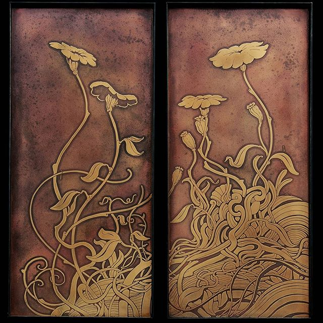 "Floral series Diptych on etched brass plate ""Nature uses only the longest threads to weave her patterns, so that each small piece of her fabric reveals the organization of the entire tapestry."" -Richard P. Feynman  #weaving #flowers #brass #brassart #etching #nicholasknudson #nicholasknudsonart #artnoveau #artnoveaubrass #flowerart #richardfeynman #theuniverse #climatechange #diptych"