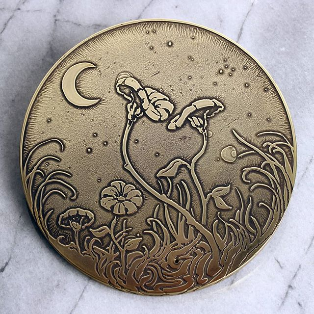 """""""A flower cannot blossom without sunshine, and man cannot live without love."""" -Max Muller  Etched brass incense stick holder 5"""" diameter  1/8"""" brass plate  #nicholasknudsonart #nicholasknudson #brass #brassart #flora #flowers #maxmuller #nighttime #etching #handmade #dtla #losangelesartist"""