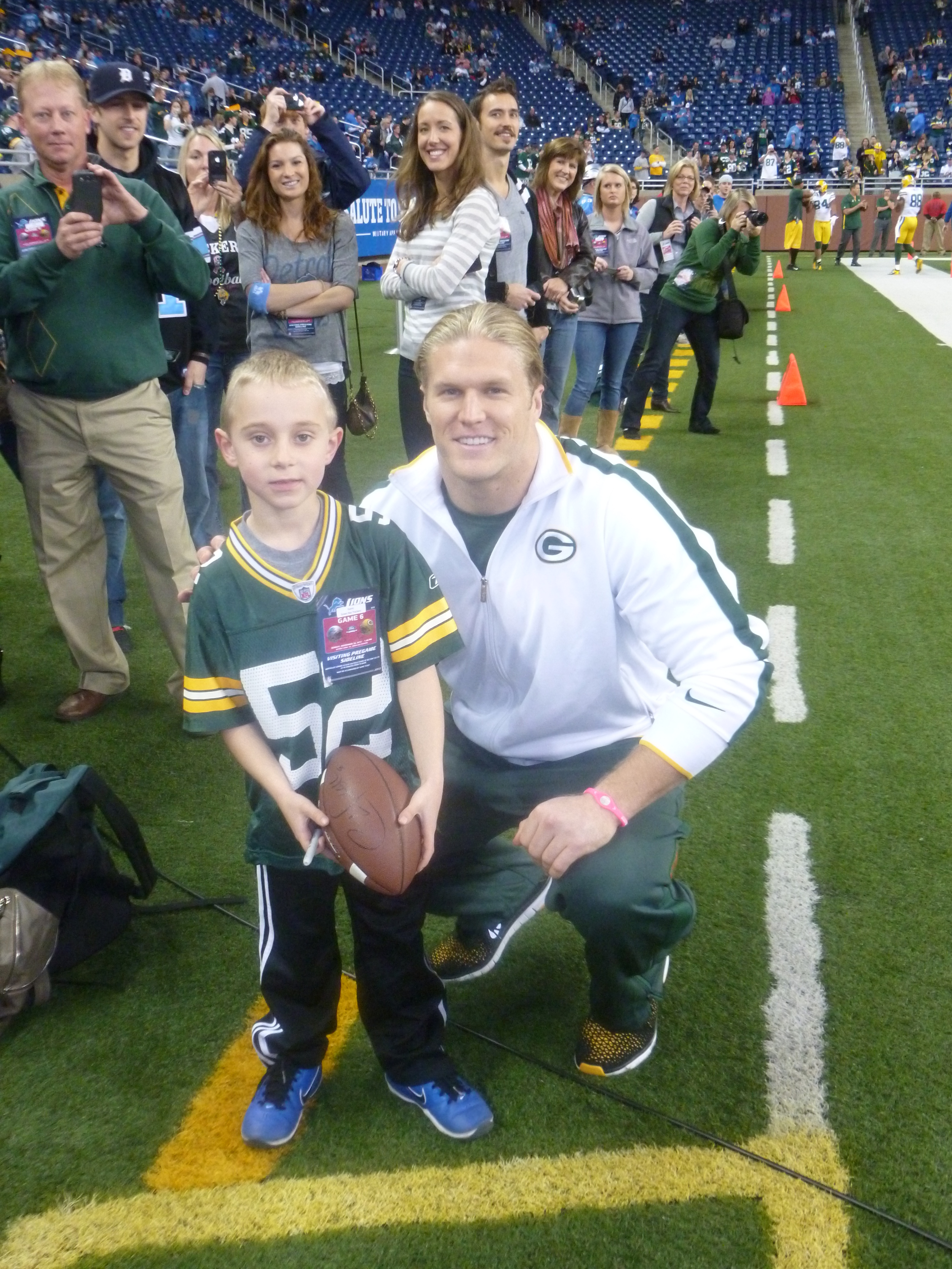 Meeting Clay Matthews was a special treat in 2012. We had tickets but were given side line passes to watch the guys practice and the hopes to meet Clay. Clay is a huge supporter of Cure Duchenne and an incredible person.