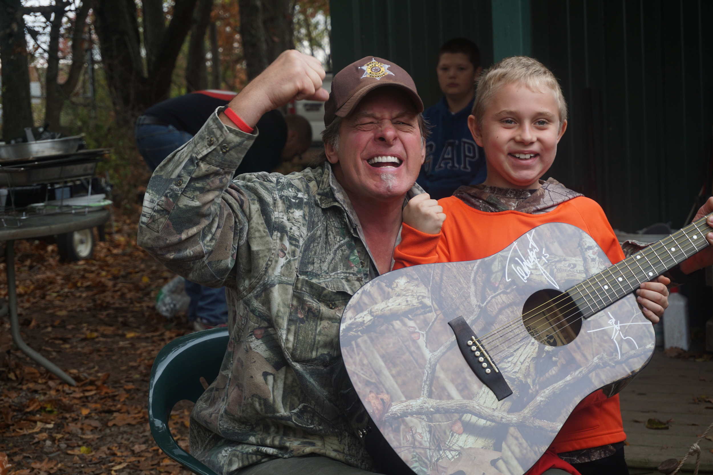 Braedan and Ted Nugent at his ranch while Wild Hog hunting. We all had an amazing time at Sunrize Safari's in Jackson MI.