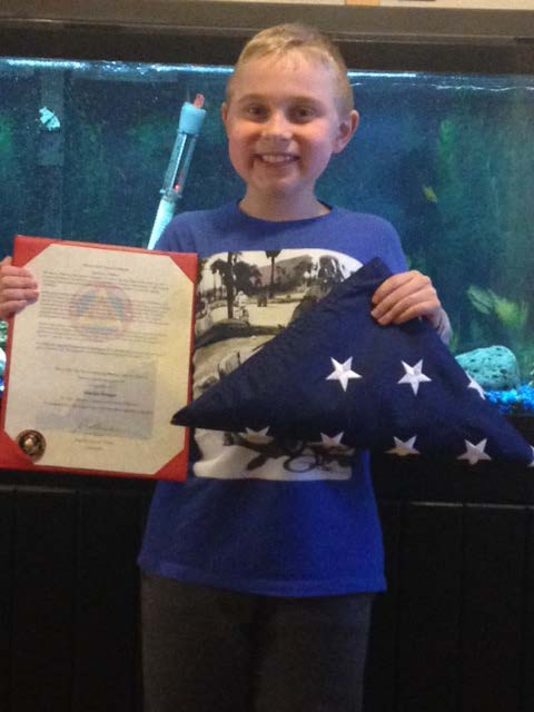 A special gift from Marine Base Quantico. This flag was flown in honor of Braedan on their base. Such an incredible gift. Thank you Jeremy Walker and all the Great Marines on Base for making this happen. And thank you for your service!
