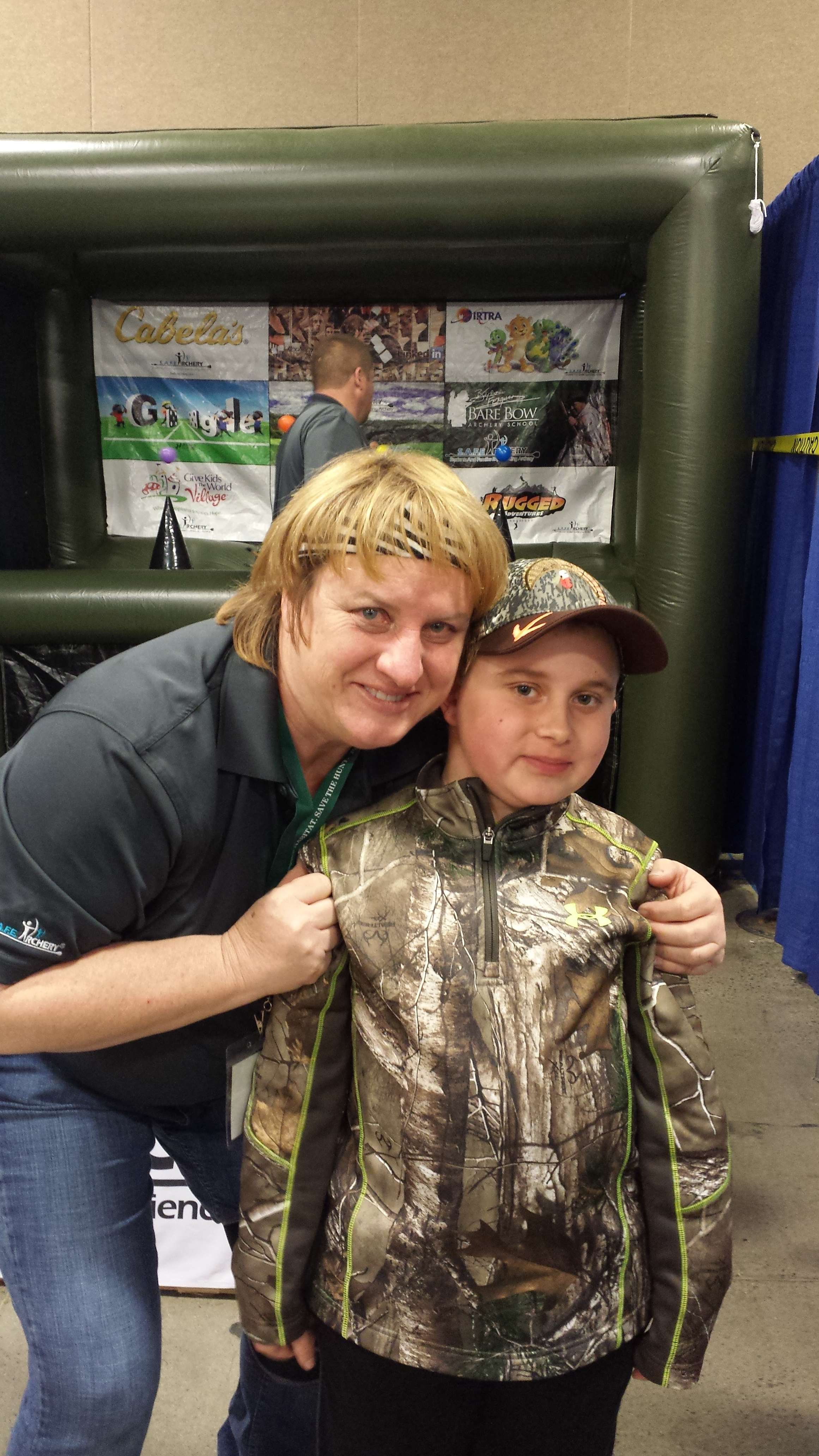 Braedan and good Friend Joella Bates. Joalla, a Champion Archer is the only woman to have shot the Big 5 in Africa with her bow.