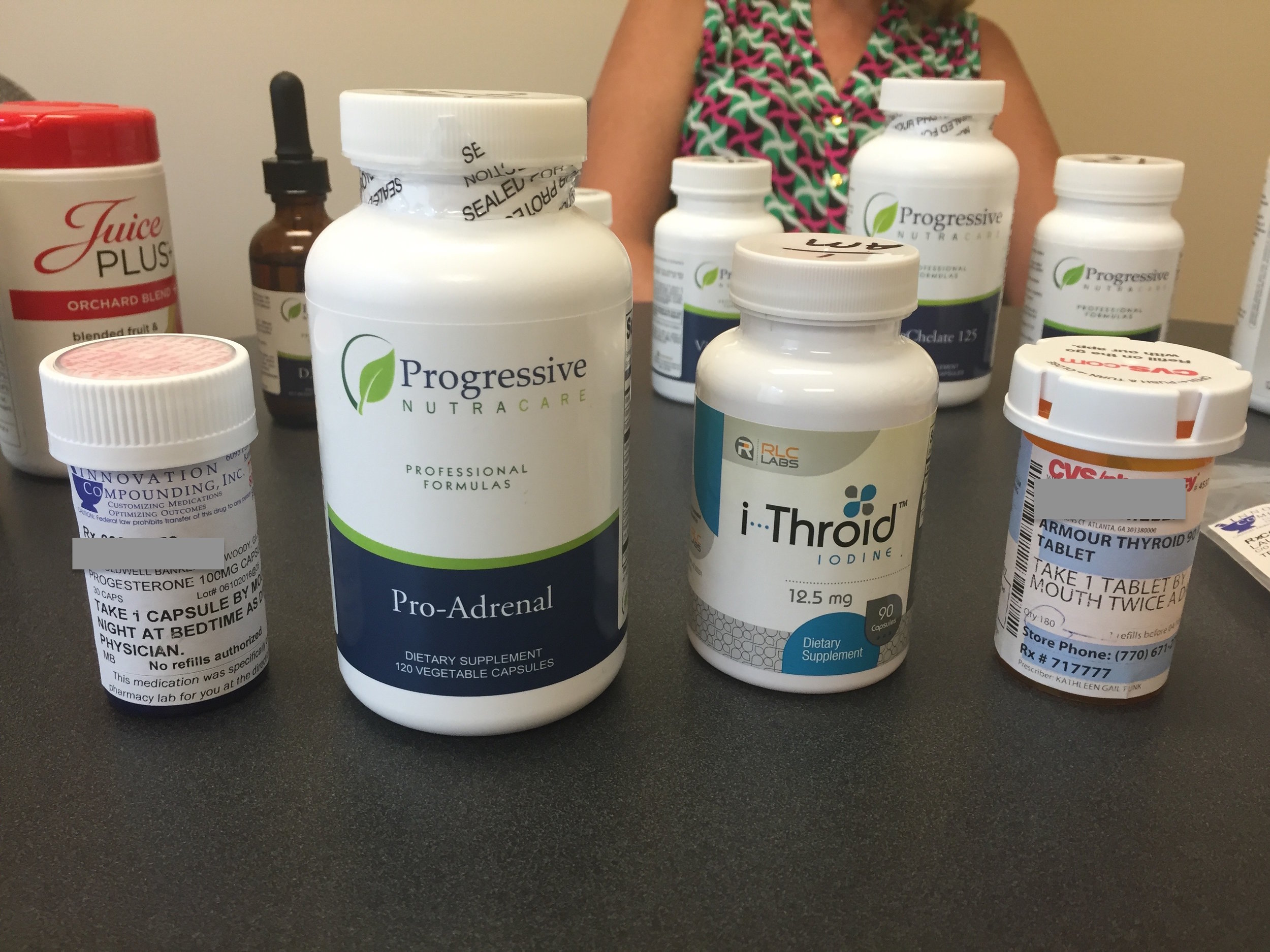 A New patient shows us the various adrenal supplements she's used along with drug hormone therapies prescribed by her