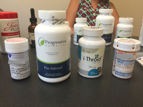 """A NEW PATIENT SHOWS US THE VARIOUS ADRENAL SUPPLEMENTS SHE'S USED ALONG WITH DRUG HORMONE THERAPIES PRESCRIBED BY HER """"FUNCTIONAL"""" MEDICAL DOCTOR."""