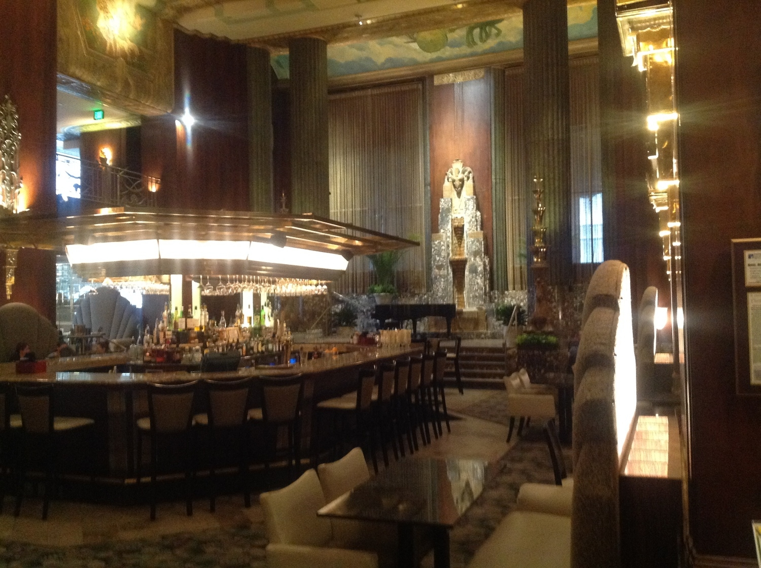 "I spoke about ""American Queen"" on March 24 before about 100 people at the Cincinnati History Museum. While there, I stayed in the hotel in Cincinnati's beautiful old Art Deco skyscraper, the Carew Tower. This is the hotel's Palm Court, which looks like something out of a 1930s Hollywood movie."