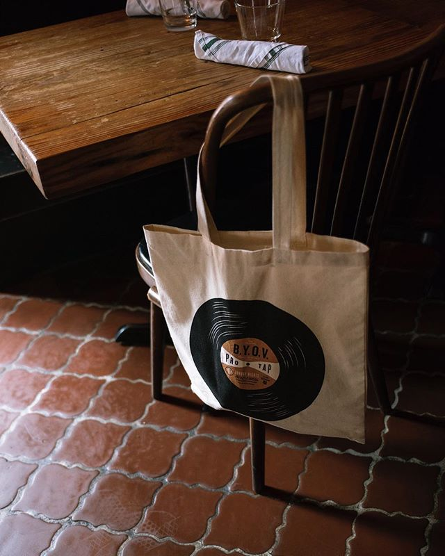 B.Y.O.V tote designed to carry albums and decorated appropriately. Created here at @truehandsociety for our friends over at @prohibition_taproom.  #truehanddesign . #truehand #jessiejaydesign #jessiejay#jessiejaydesign #designedbyjessiejay#typography #phl #philly #philadelphia#branding #illustrator #typelockup