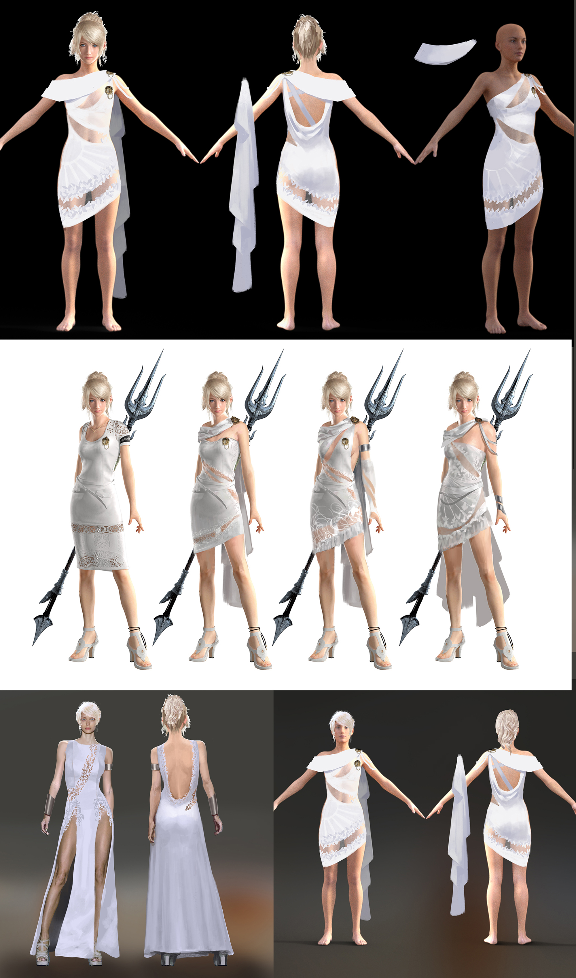 Art by Ryan Lee and Marco Nelor. Costume design for a dress worn by Alexis Ren in live action commercials.