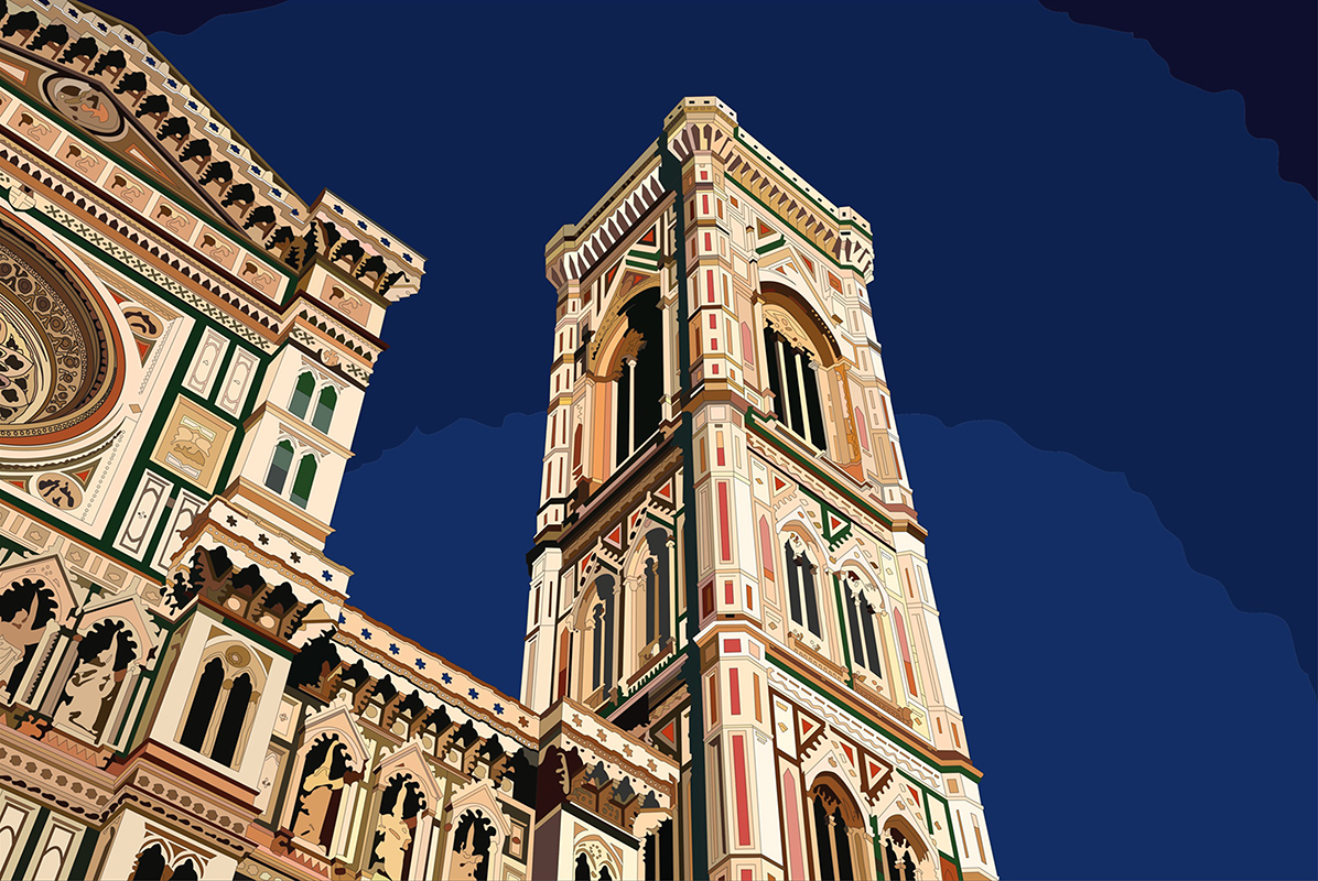 colorized digital illustration of  The Duomo