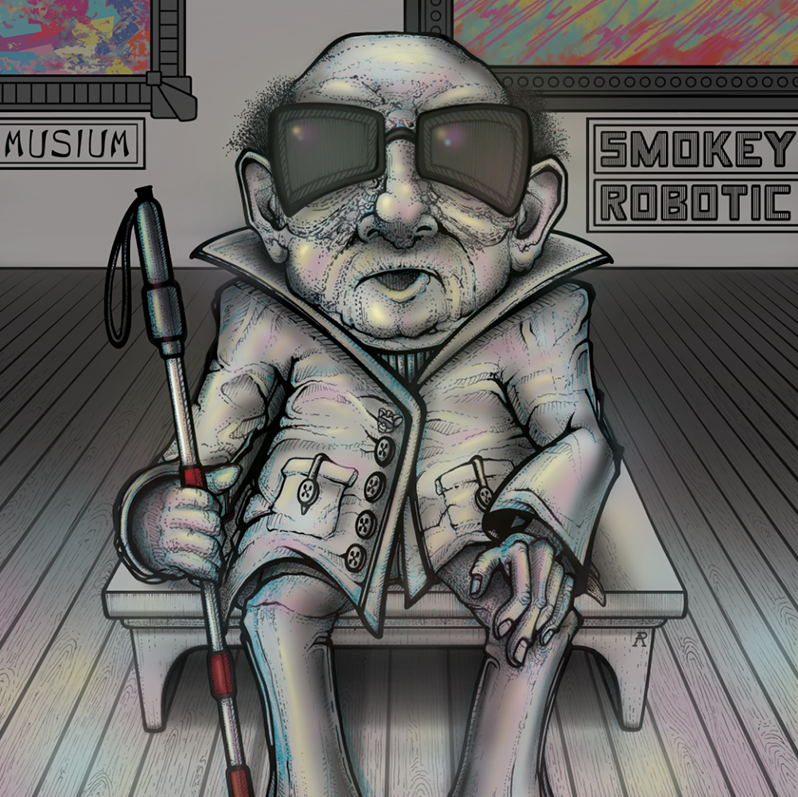 pen on paper with digital color; album cover for  Smokey Robotic (front)