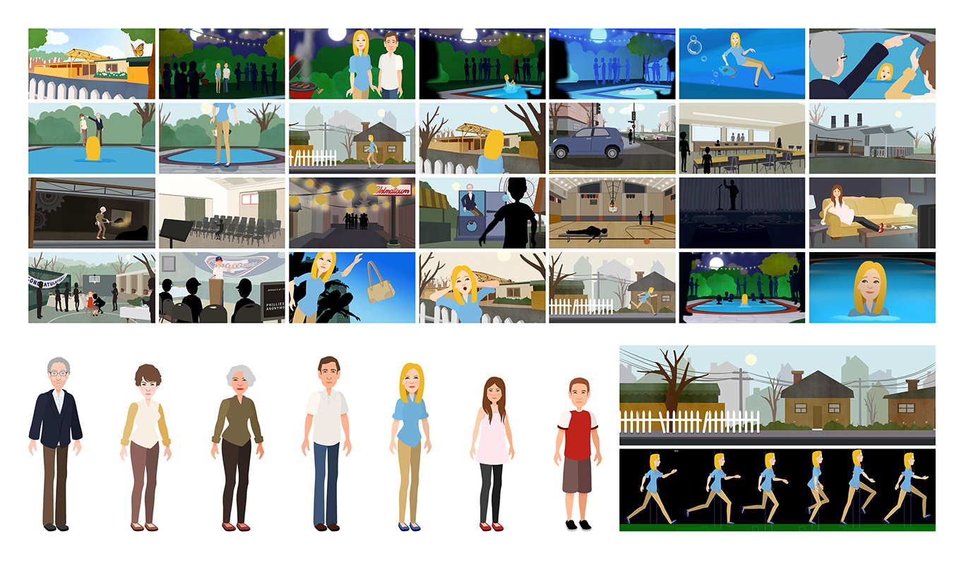 "character animation for  Oakwood School: ""For the Tollins"""