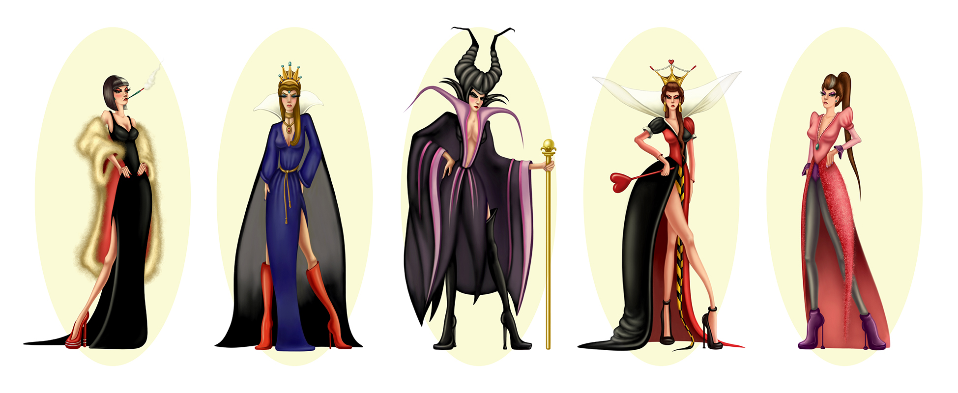 "costume designs for ""Disney Villains Photo Shoot"""