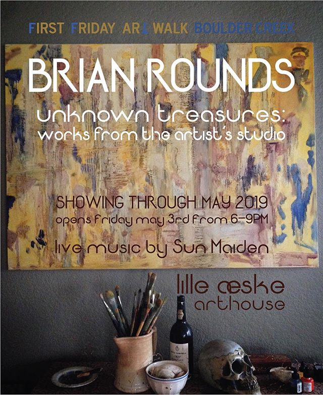 """It is with great pleasure that we welcome Brian Rounds back to the gallery for a brand new show titled """"Unknown Treasures"""". The show features hidden gems from Brian's studio. Live music will be provided by @the.sun.maiden  Join us tomorrow evening May 3 from 6-9pm."""