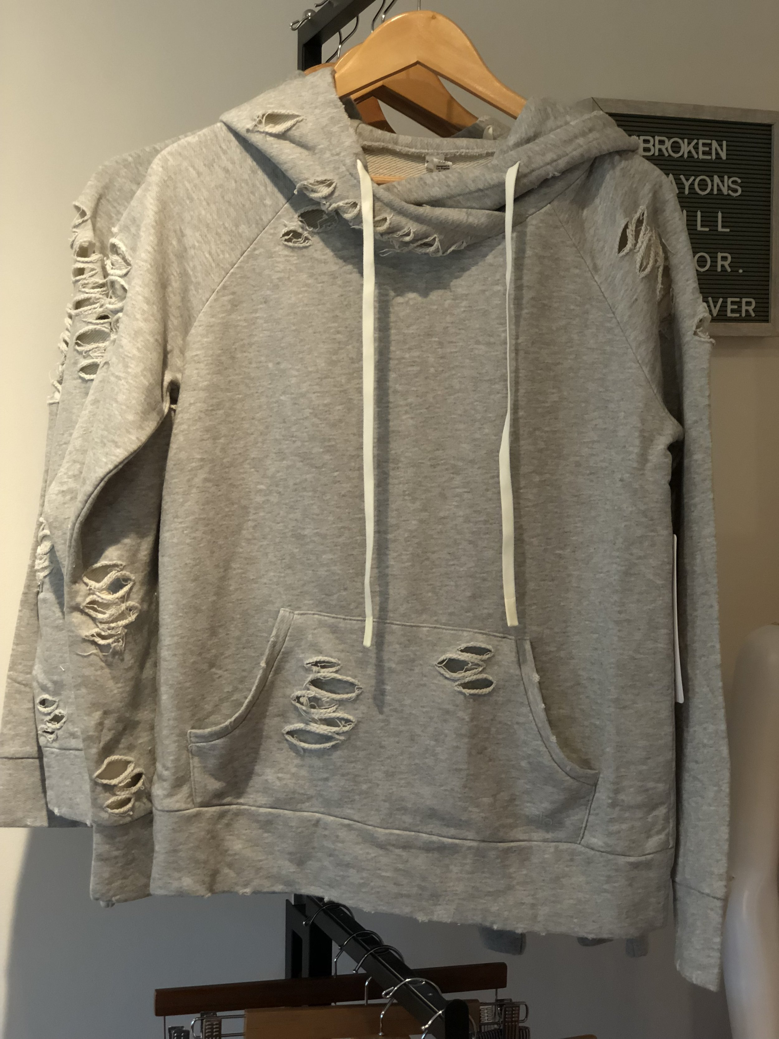 ALO Ripped Hoodie $128