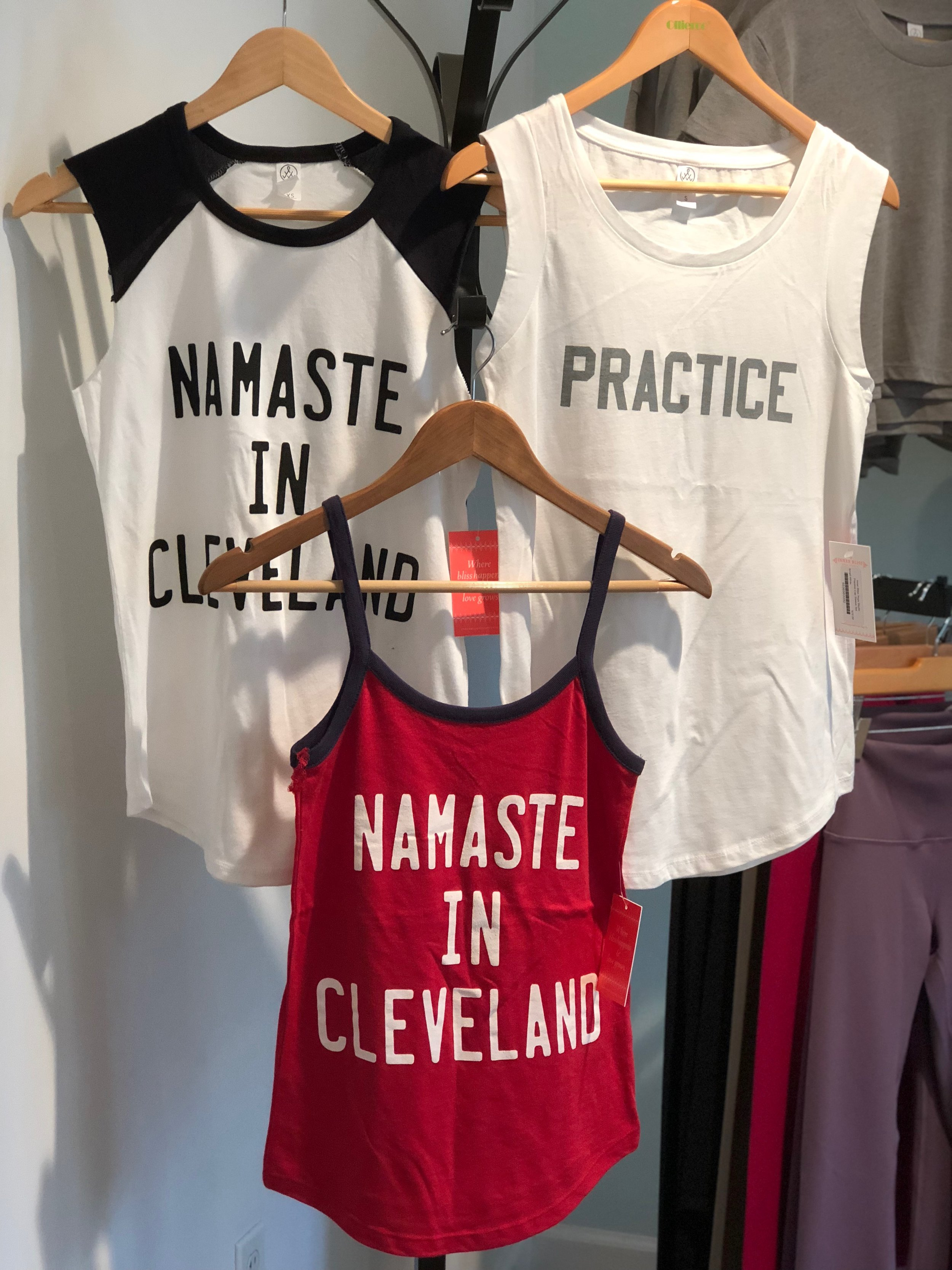 Practice White Cap Sleeve Tee $29, amaste in Cleveland Ringer Cami $26
