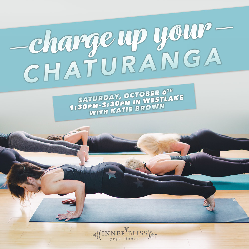 Don't miss Katie's  Charge Up Your Chaturanga Workshop  on Saturday, October 6!