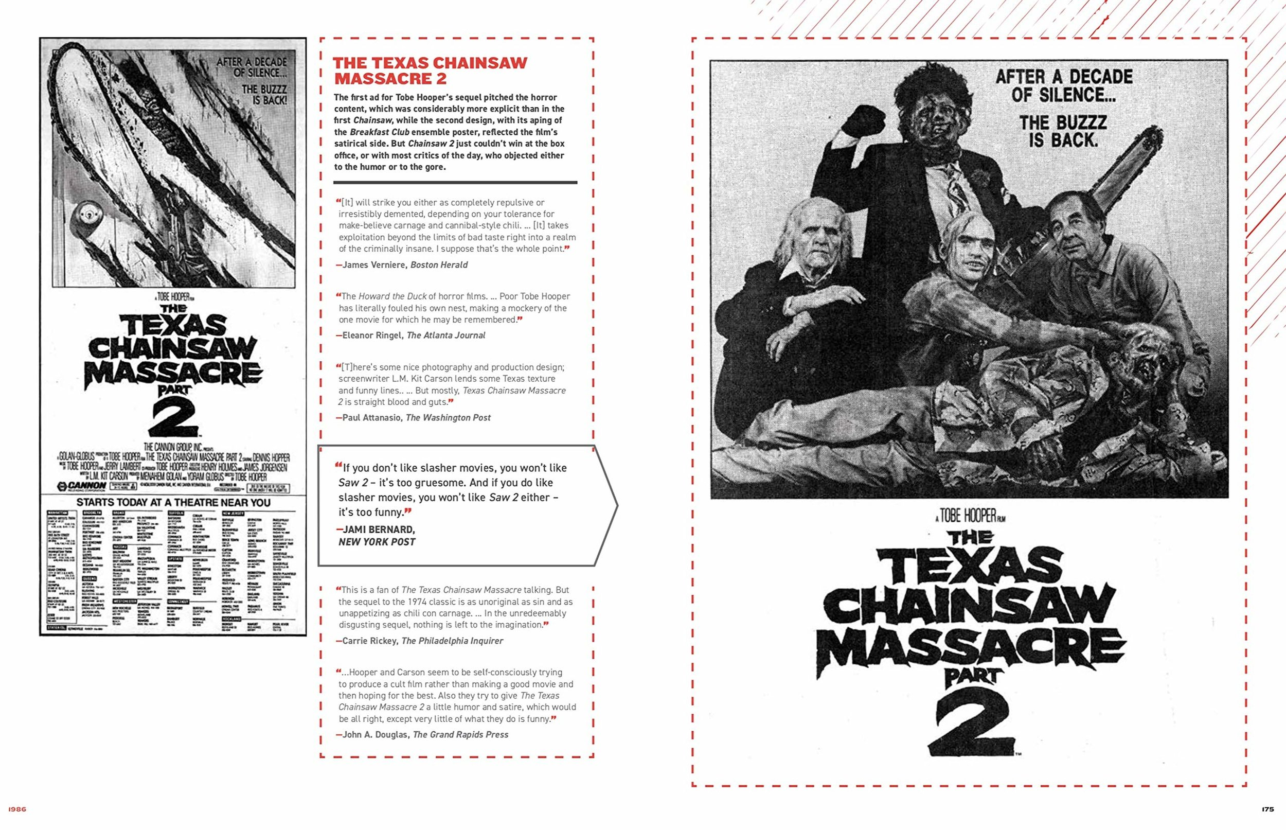"A nice example of the general layout of the book, featuring ""The Texas Chainsaw Massacre Part 2"". The included review quotes are contextually fascinating and a great supplement to the images."