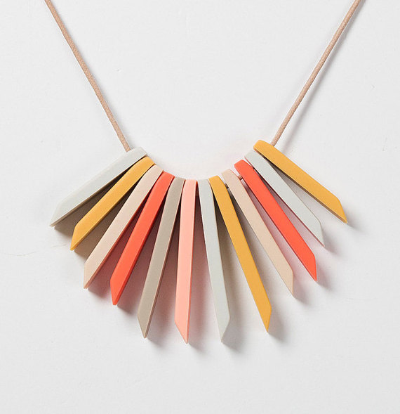 Dear Mabel Handmade / Multi Coloured Silicone Flex Necklace / $44.95 / I own a couple of Dear Mabel earrings in eye popping yellow and coral and they are the first that don't make my ears itch and bleed. Hooray!
