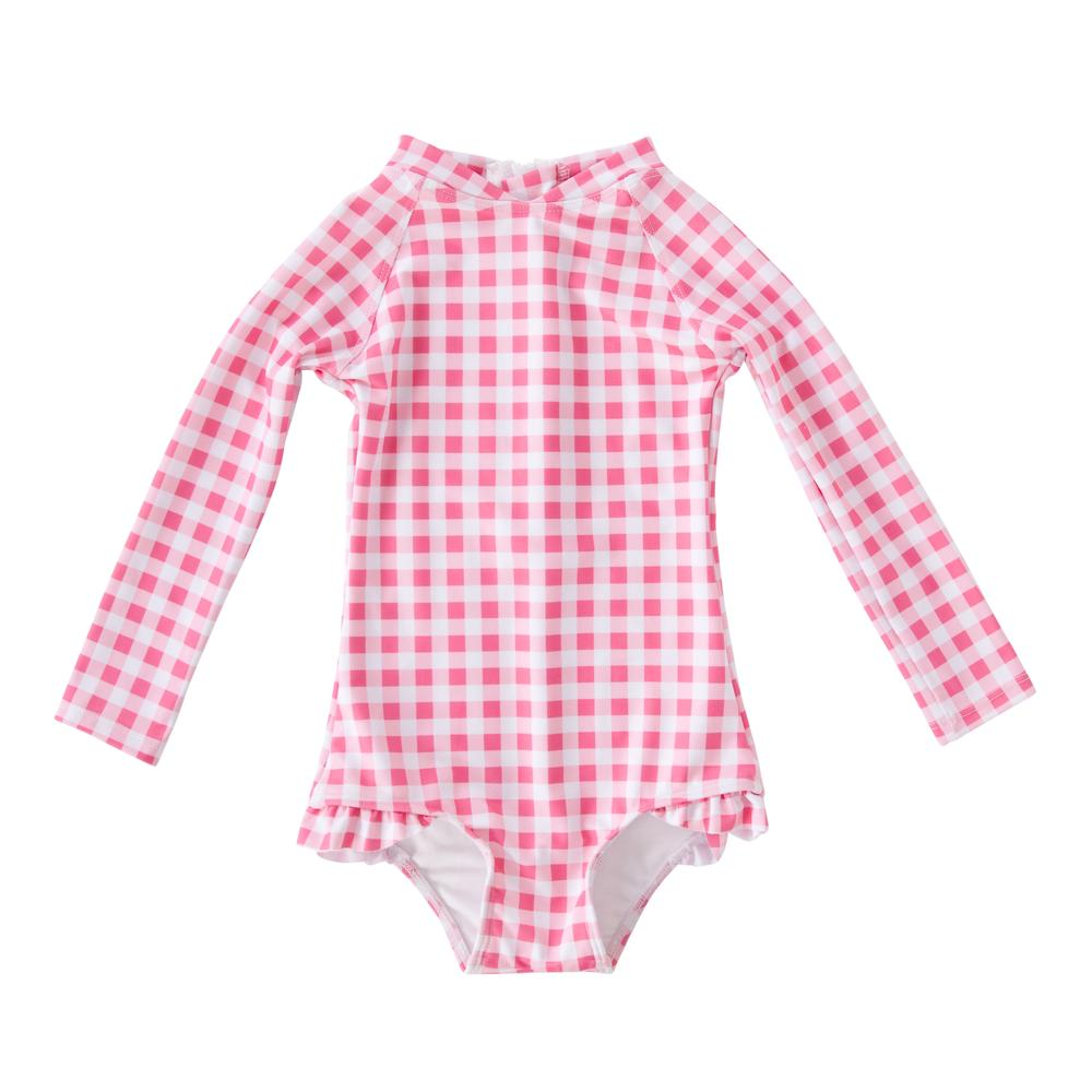 Peggy - Violet Full Piece with frill in gingham, $79.95