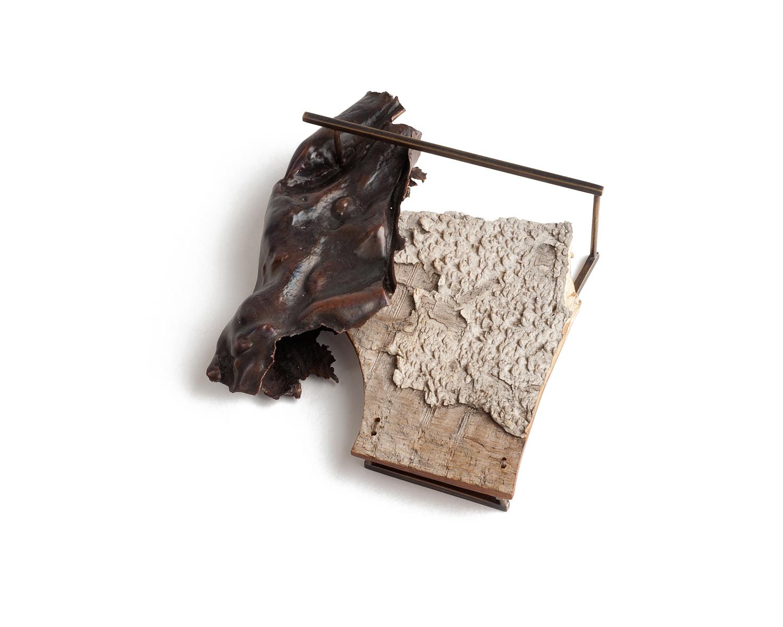 "Formal Attire  (brooch), 2014. Found wood, copper, brass, steel, thread. 3.75"" x 3"" x 1"""