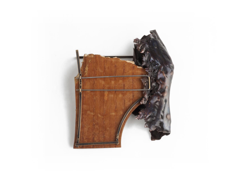 "Formal Attire  (pin back detail), 2014. Found wood, copper, brass, steel, thread. 3.75"" x 3"" x 1"""