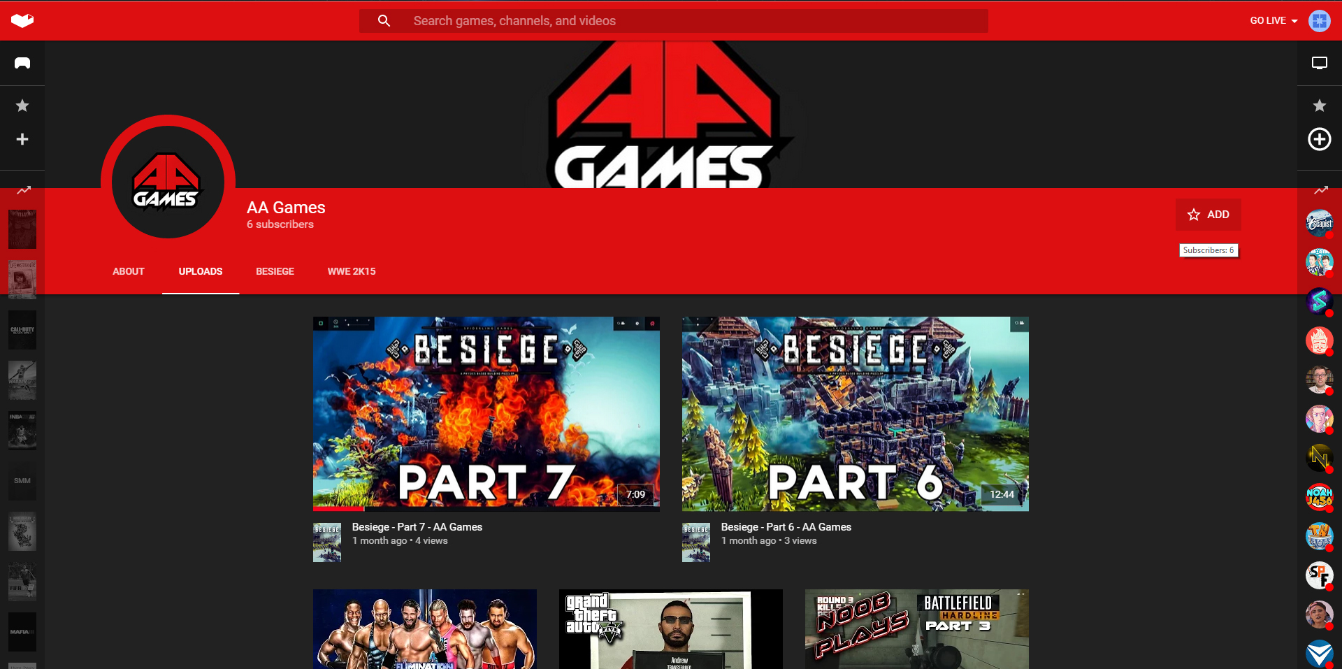 AA Games' channel on YouTube Gaming
