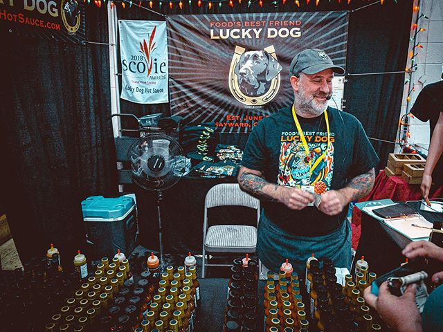 Absolutely the best hot sauce. All the flavors are bangin'. I was so excited to see @luckydoghotsauce featured on this season of #HotOnes. #hotsauce #countyfair #luckdoghotsauce