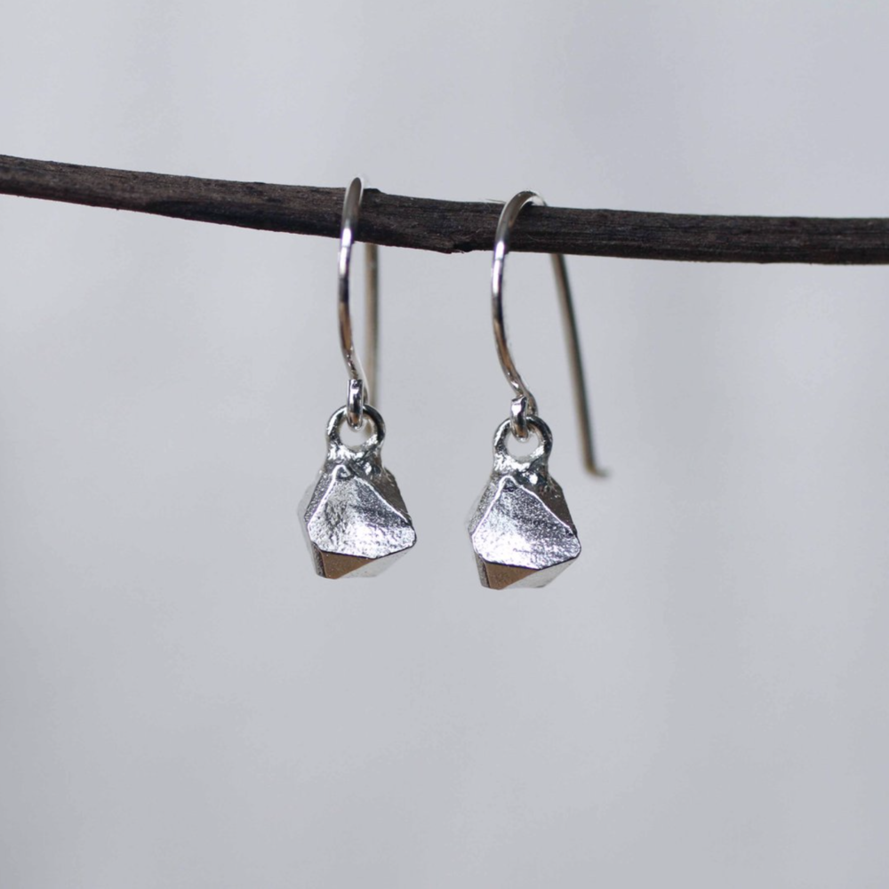 Large Triangle Studs Sterling Silver Earrings Rope Design Geometric Jewelry
