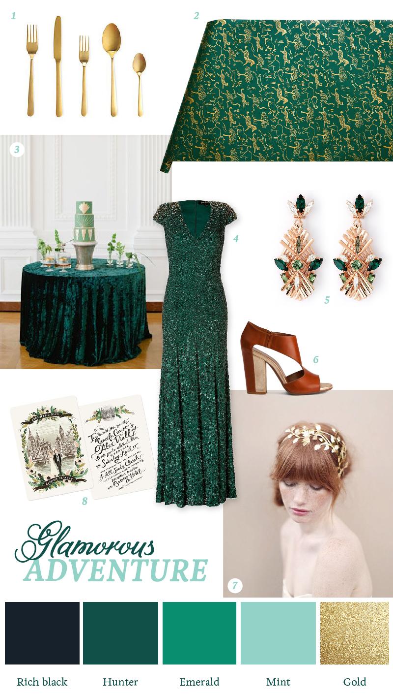 A-glamorous-adventure-green-gold-wedding-mood-board