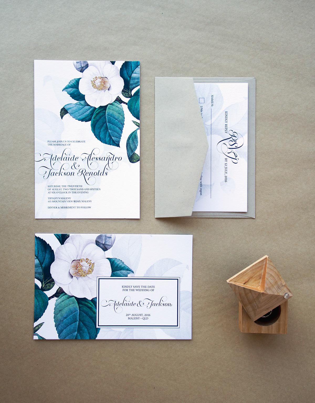 Green & White Floral Wedding Invitations