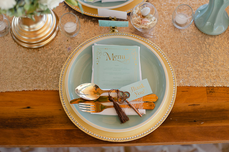 Blue & Gold Wedding Table Stationery