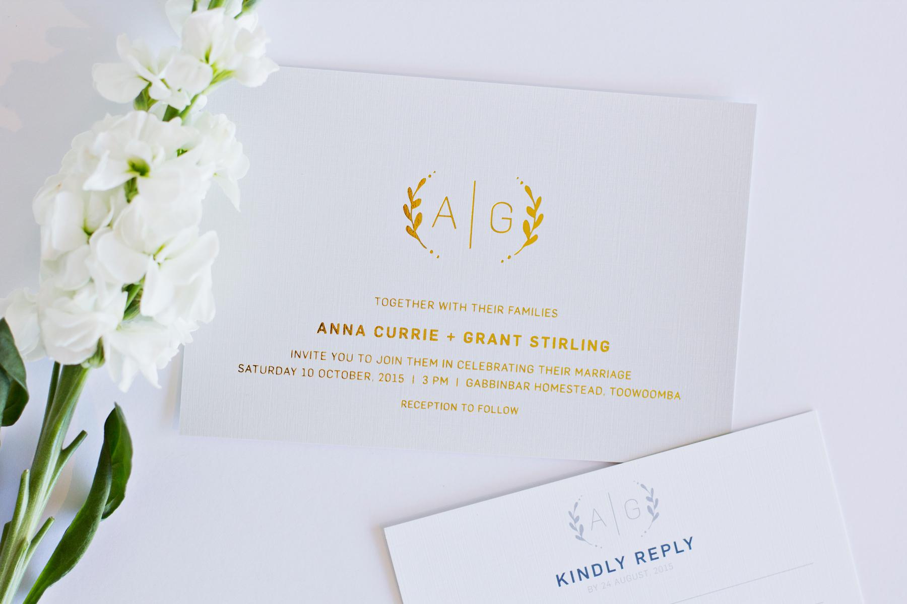 Grey & Gold Monogram Wedding Invitations