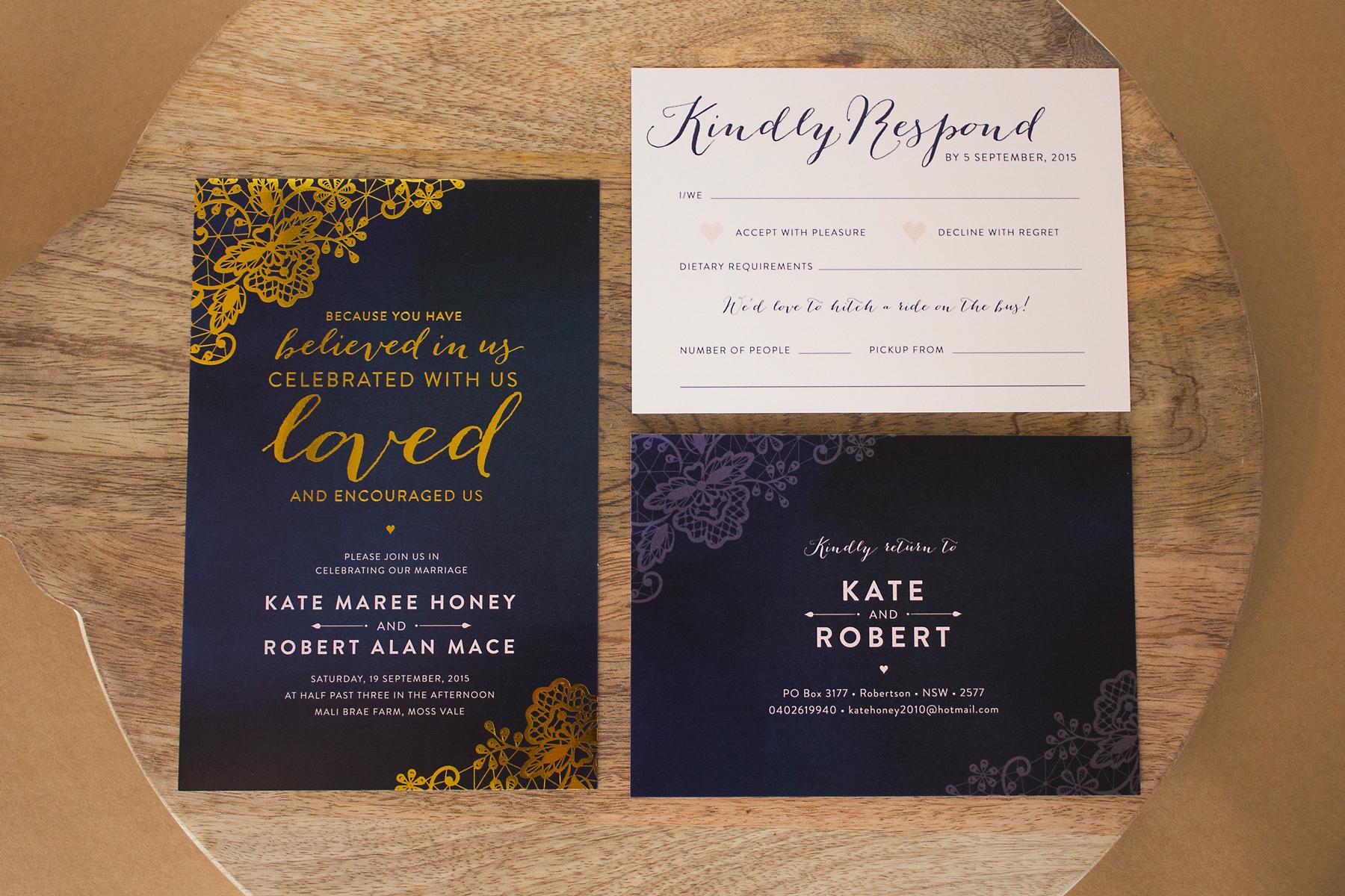 Gold Lace Wedding Invitations