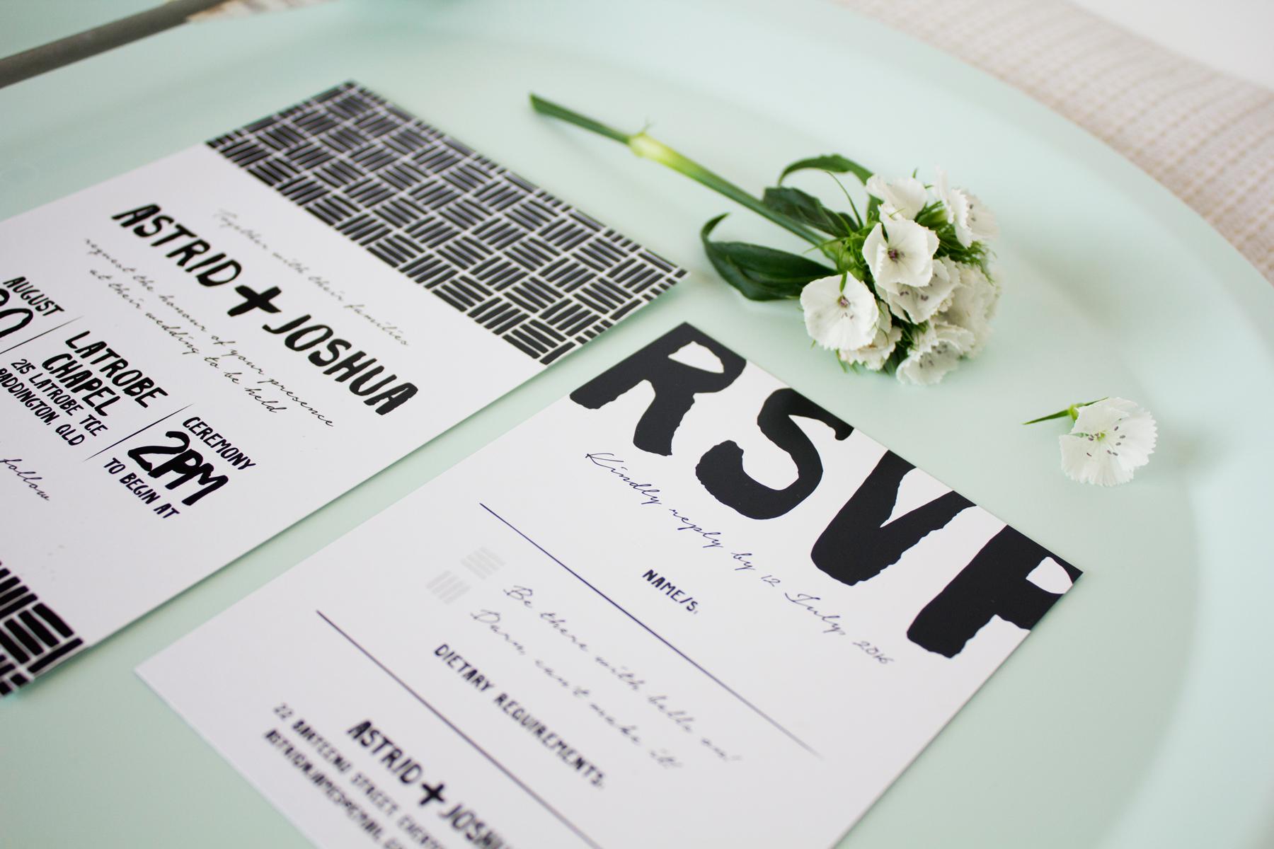 Black & White Painted Wedding Invitations