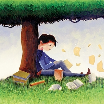 Gabe under a tree