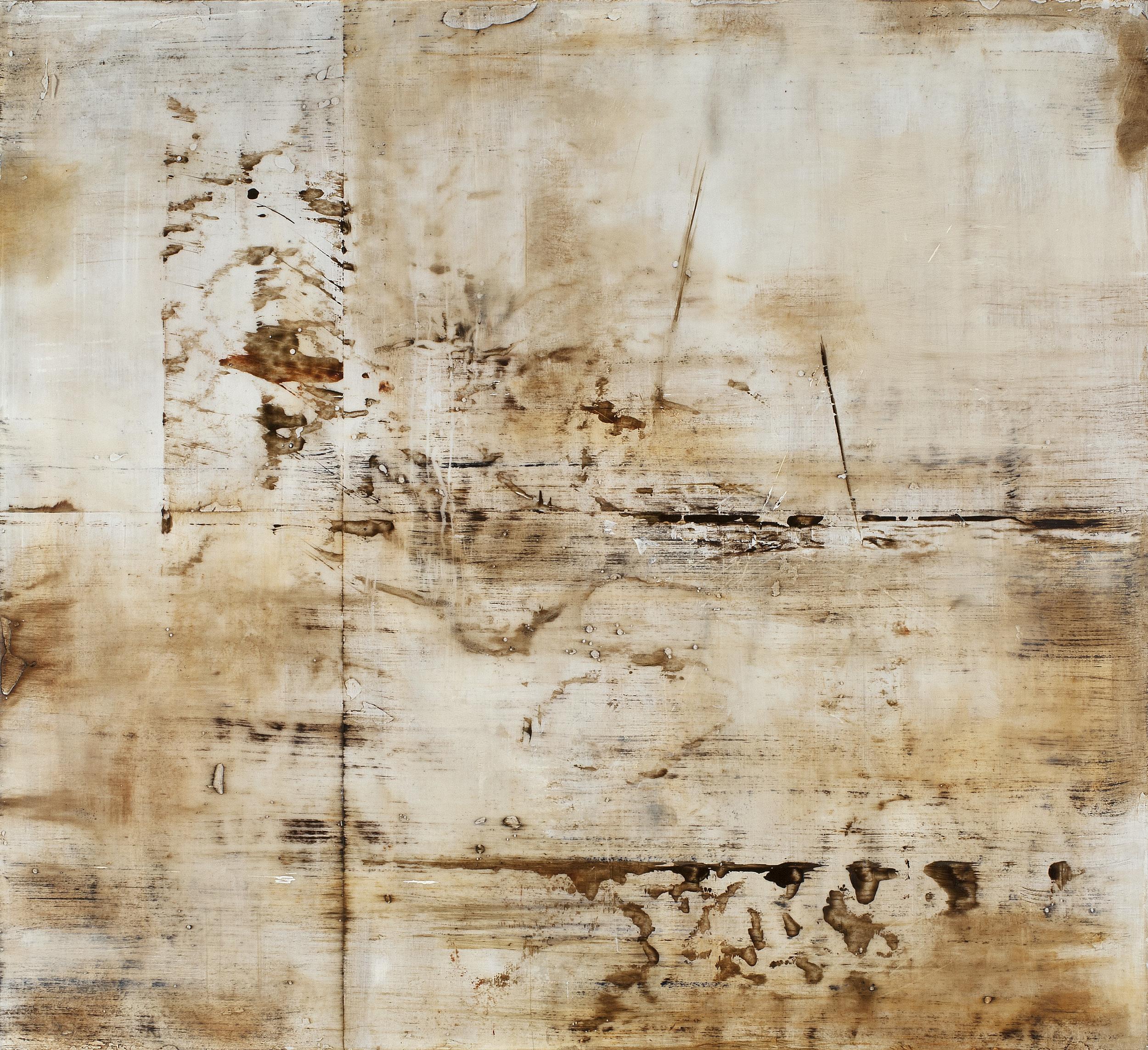 "Language of Lines (detail), 2013, oils, encaustic on panel, 24"" x 24"""