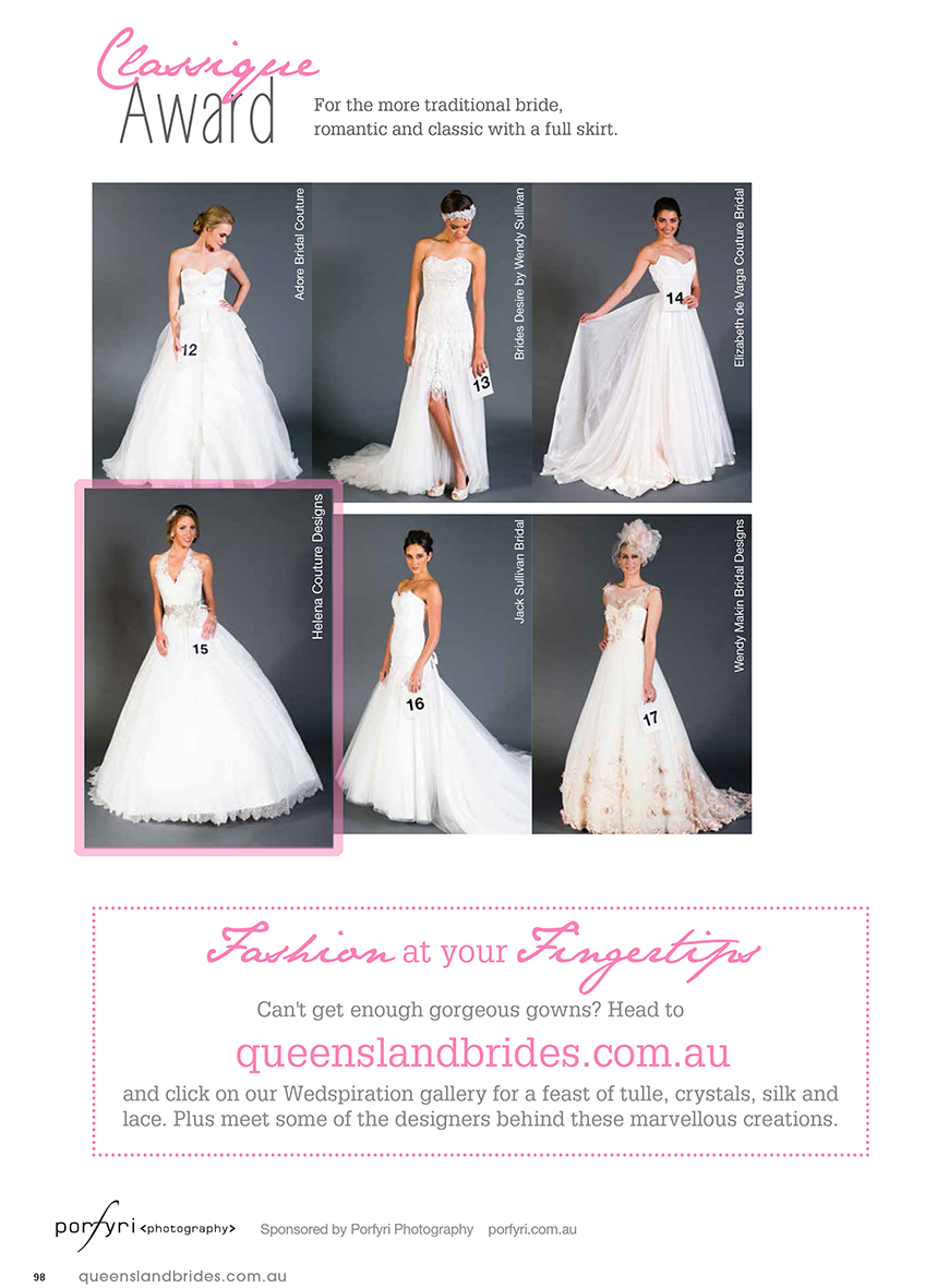 2014 QLD Brides Design Awards - Helena Couture Designs - Australian Multi Award Winning Brdial Label