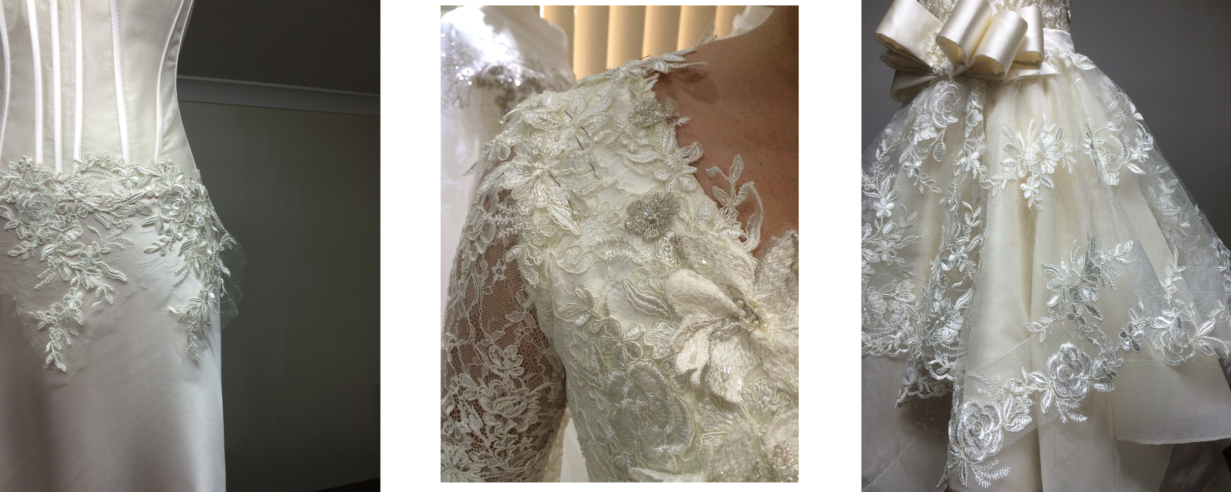 "Wedding dresses using the ""Kelly"" lace"