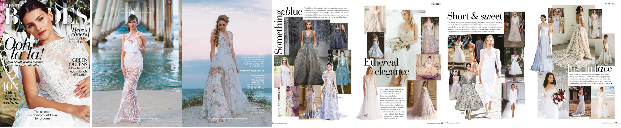 Helena Couture Designs - Front cover for QLD Brides Magazine Spring/Summer 2017