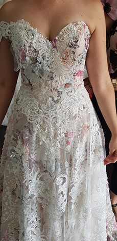 Rebecca's wedding dress evolving. Making small design changes at each fitting.