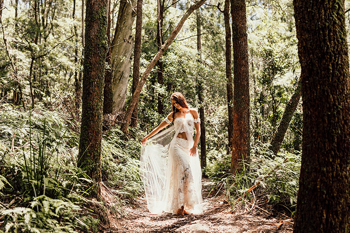 Liana in all her glory of many different layers of lace, inspired by Spring.   Image by Luke Middlemiss Photography.