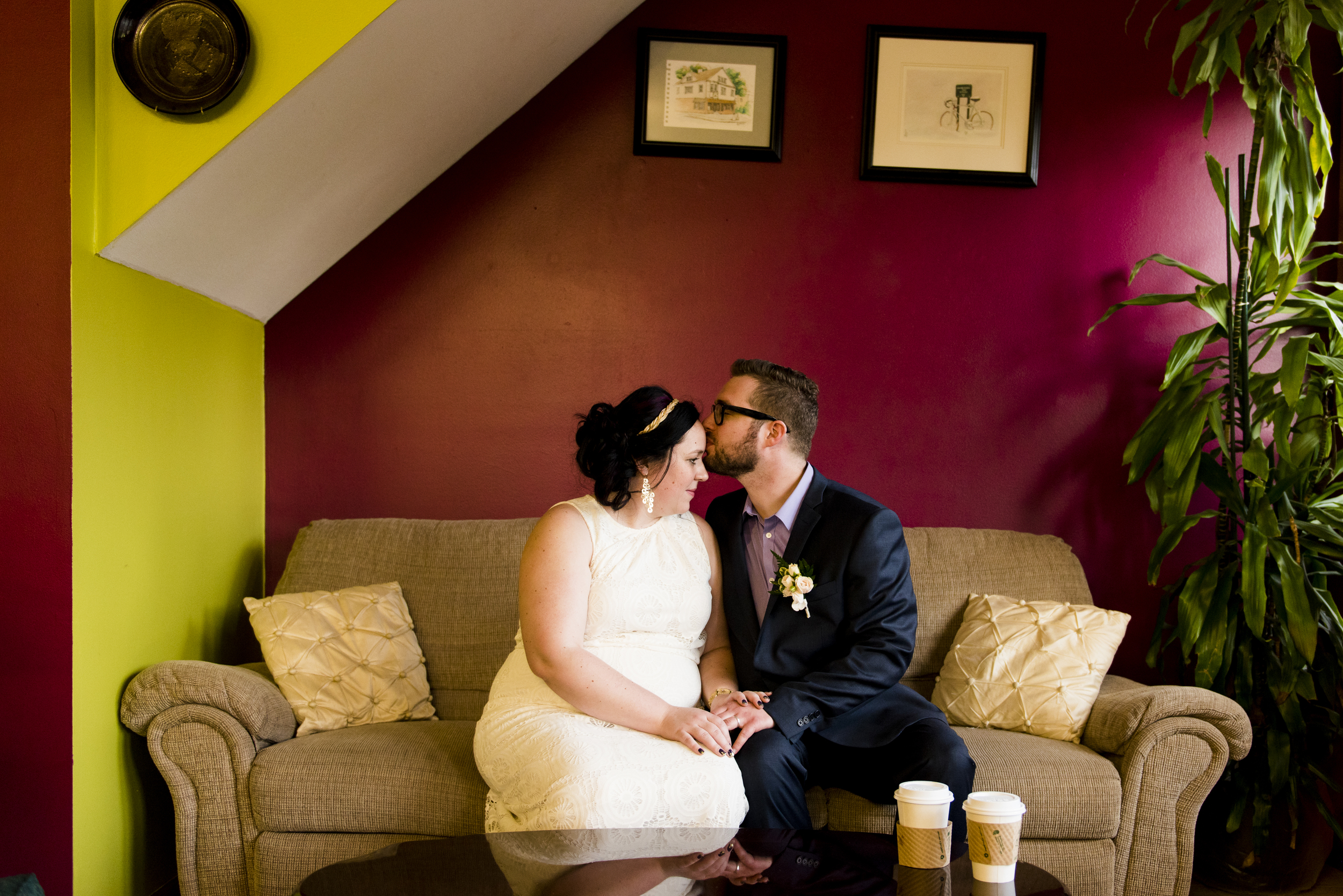 bride and groom in cafe