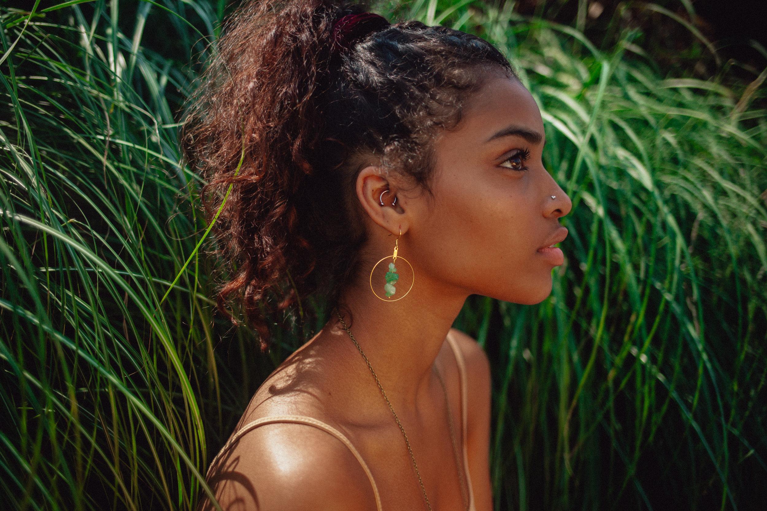 Aventurine Stone Mineral Hoop Earrings