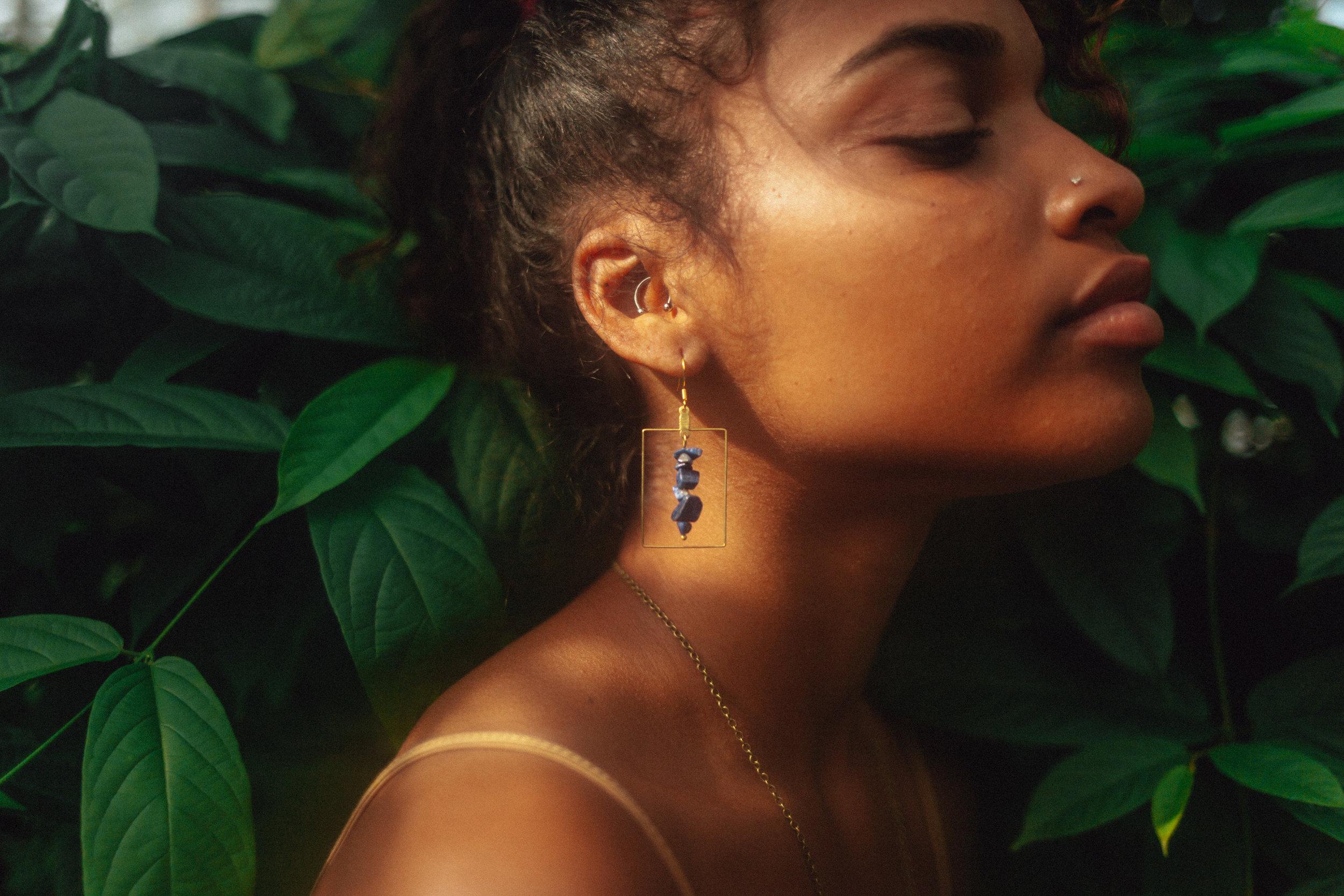 Lapis Lazuli Stone Hoop Earrings - Mineral Jewelry