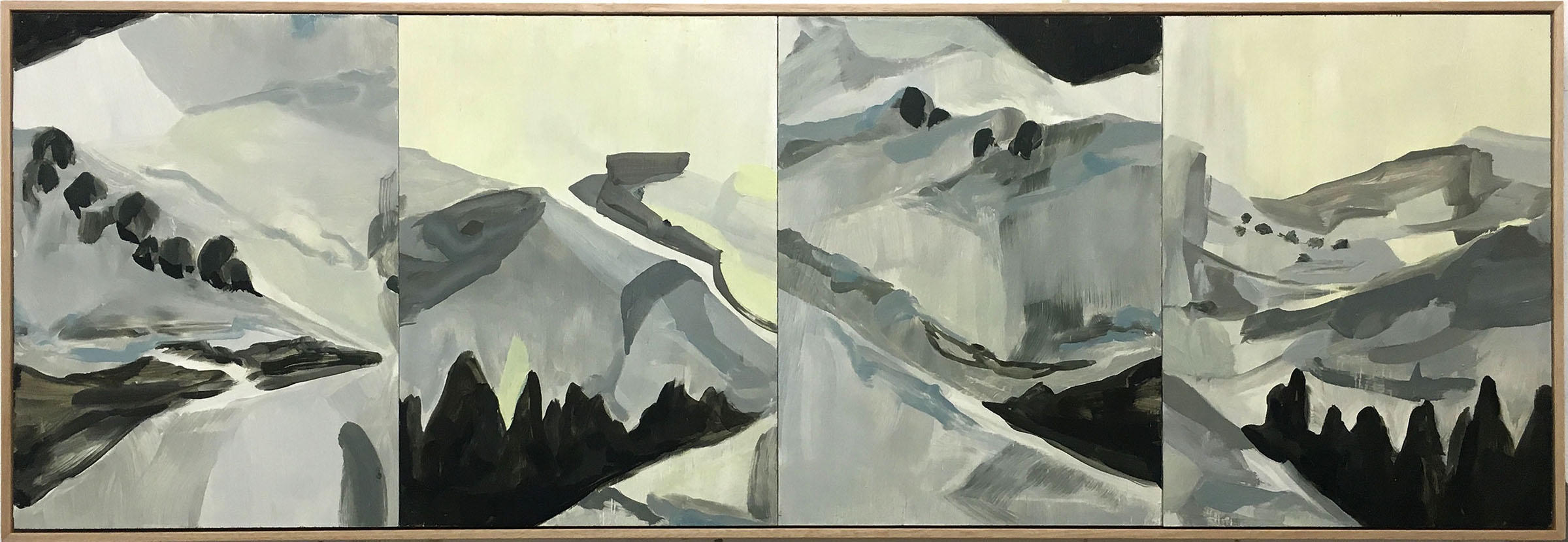 HWY Scapes, Oil on Board,  43 x 122 cm