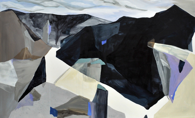 Mountain Hill/Plain, Acrylic and Oil on Canvas, 112 x 183 cm
