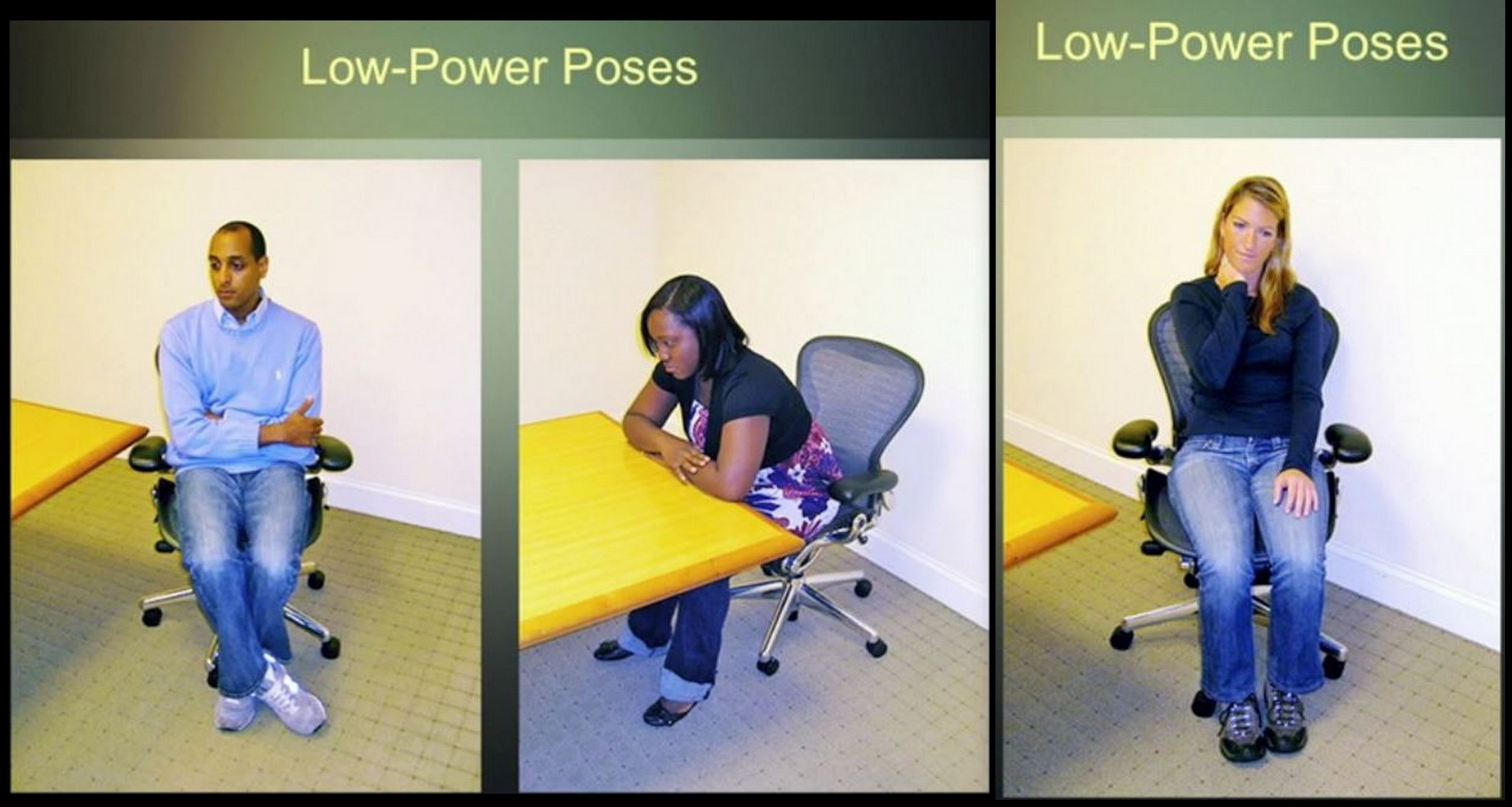 Subjects doing low power poses