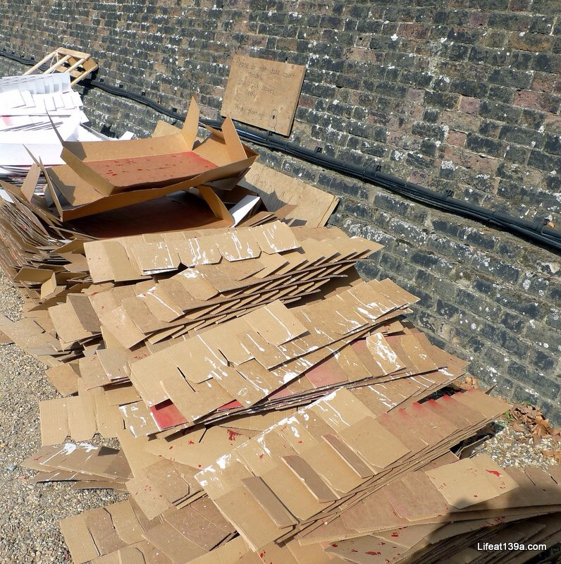 The empty poppy boxes were returned to the workshops and used to deliver more poppies to the moat